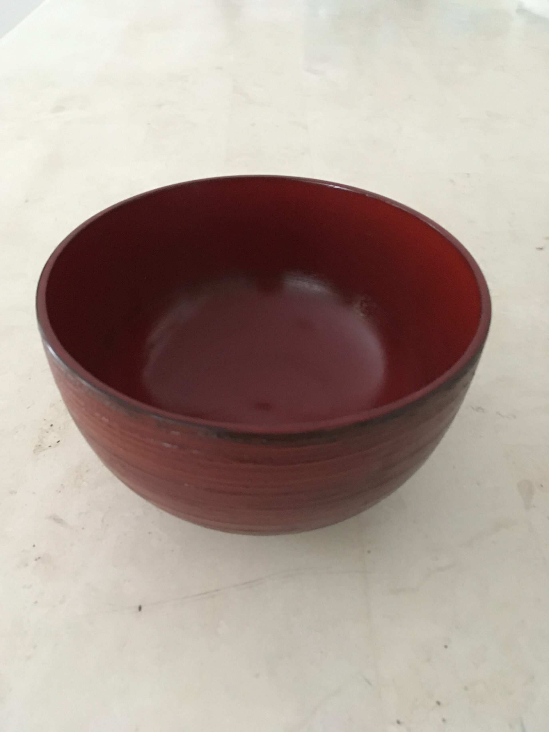 Wooden Lacquerware Bowl (hakeme, red)